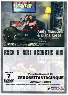 Andy Murocker e Diana Costa un duo acusticodi grande intimità ma con la potenza di un rpck band! ...Venite a provare momenti di puro piacere ascoltandoli....