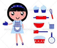 Cute cooking girl with accessories #GraphicRiver Cute retro cooking woman with items. Vector cartoon Created: 20February12 GraphicsFilesIncluded: VectorEPS Layered: No MinimumAdobeCSVersion: CS Tags: bake #baking #beautiful #black #cake #cartoon #cheerful #chef #child #cook #cooking #cute #drawing #female #girl #housewife #icons #isolate #isolated #items #kid #kitchen #lady #red #retro #sweet #vintage #white #woman