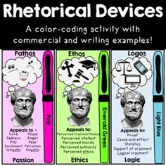 Rhetorical Devices in Motion: Teach Persuasive Techniques, Argumentative Writing Argumentative Writing, Persuasive Writing, Teaching Writing, Teaching English, Essay Writing, Teaching Ideas, Teaching Career, Opinion Writing, Writing Lessons