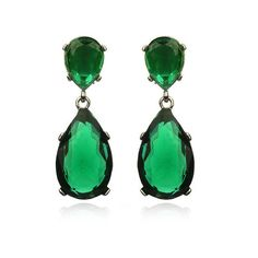 Kenneth Jay Lane Emerald Drop Earrings, found on polyvore.com