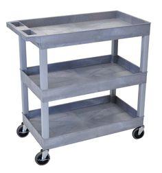 "Luxor 32"" x 18"" Tub Storage Cart 3 Shelves – Gray"
