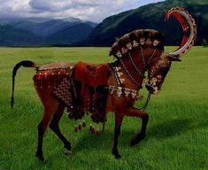 Reconstruction of the horse trappings found in one of the the 4th century BC Scythian-type Pazyryk burials.