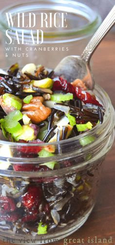 Wild Rice Salad with Cranberries and Nuts is the perfect fall and holiday salad, it's healthy and bursting with colorful fruits and nuts in every bite. #salad #fall #Thanksgiving #Thanksgivingside #glutenfree #glutenfreesalad #wildrice #ancientgrain #wholegrain #lunch #healthy #whole30 #nutritious #cranberries  via @https://www.pinterest.com/slmoran21/
