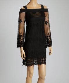 Love this Black Lace Cutout Shift Dress by Mechant on #zulily! #zulilyfinds