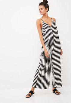 68bb438a5c2a Noisy May Irena Oversize Stripe Jumpsuit Black   White Striped Jumpsuit