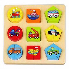 Puzzle vehicule ,așezați două jumătăți de formă geometrică (cerc, pătrat, pentagon) unul lângă altul, astfel încât forma și imaginea să se potrivească.  Dimensiune: 20 x 20 x 2,6 cm  Vârsta recomandată: 2-4 ani  Recomandat : pentru băieți și fete  Materii prime: lemn