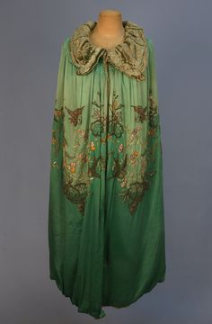 Silk evening cape beaded and embroidered with birds and flowers, 1920's