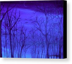 Canvas Print, painting, forest,scene,woods,landscape,nature,trees,trunks,branches,bare,winter,cold,night,nocturnal,sky,starry,forestscape,nightscape,natural,moonlight,stars,vision,tranquil,peaceful,serene,moody,nostalgic,romantic,poetic,melancholic,purple,lavender,blue,shades,vivid,colors,monochromatic,decor,beautiful,unique,fantasylike,cool,realism,realistic,of,in,at,a,by,the,fine,art,oil,images,artworks,decor,artistic,items,products,for sale,fine art america,autumn forest