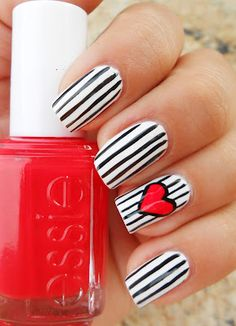 Black & white stripes + heart accent nail art