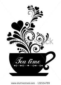 Tea time. Cup with floral design elements  isolated on White background. Vector illustration by Kalenik Hanna, via ShutterStock