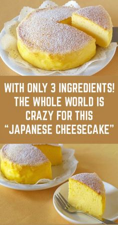 """With Only 3 Ingredients! The Whole World Is Crazy For This """"Japanese Cheesecake"""", Desserts, With Only 3 Ingredients! The Whole World Is Crazy For This """"Japanese Cheesecake"""". Light Desserts, Asian Desserts, Japanese Desserts, Japanese Food Recipes, Mango Cheesecake, Mango Pie, Mango Tart, Jiggly Cheesecake, Greek Yogurt Cheesecake"""