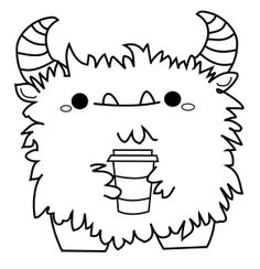 Useless Trinkets Fluffy Gustav the coffee monster by Jessa Feig free digital stamps love the m so cute
