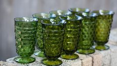 Retro Green Vintage Glassware works well in spring summer or fall on your wedding tablescape!  @DixiDoesVintage Dixie Does Vintage Rentals in Dallas Tx