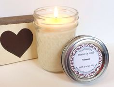 Tobacco Scented Candle 8 oz Mason Jar Candle by TattertwistsSpa, $10.00