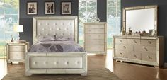 5 pc Loraine silver finish wood with silver mirrored border and tufted headboard with nail head trim queen bedroom set. This set includes the queen bed, dresser, mirror, and chest. Bedroom Furniture Stores, Furniture Deals, Home Furniture, Online Furniture, Luxury Furniture, Furniture Shopping, Apartment Furniture, Cheap Furniture, Kitchen Furniture