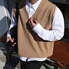 Buy 2018 Winter Men's Slim Fit Sleeveless Cashmere Knitting Woolen Pullover Casual Sweater Waistcoat Vest V-neck Sleeve Single Knit Sweater Vest Outfit, Vest Outfits, Knit Vest, Cool Outfits, Men Sweater, Korean Fashion Men, Mens Fashion, Casual Sweaters, Aliexpress