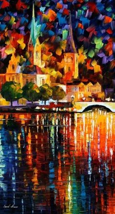 The Light of History - Leonid Afremov This painting shows really good control of color. The reflections in particular drew my attention by looking cool while willed with hot colors.