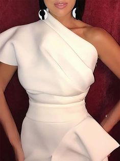 Summer Fashion Elegant Sloping Shoulder Pure Colour Waist Bodycon Dress - One Shoulder Ruched Irregular Party Dress.Summer Fashion Elegant Sloping Shoulder Pure Colour Waist Bodycon Dress - One Shoulder Ruched Irregular Party Dress Dresses Elegant, Pretty Dresses, Sexy Dresses, Evening Dresses, Casual Dresses, Dresses For Work, Summer Dresses, Formal Dresses, Wedding Dresses