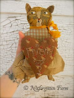 """Dorothy"" punch needle Cat Folk Doll ~ from ©Notforgotten Farm"