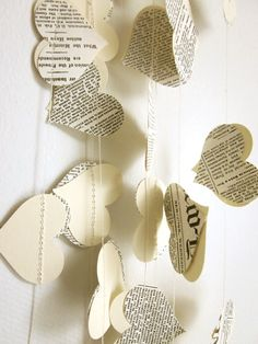 Book Paper Garland  Cream Hearts Garland  Wedding by ArtsDelight, $20.00l