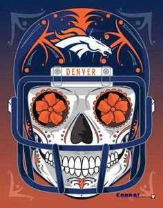 """Denver Broncos"" Sugar Skull Day of the Dead Calavera Print Inspired by the two time Super Bowl Champions Pittsburgh Steelers, Carolina Panthers Football, Denver Broncos Football, Go Broncos, Broncos Fans, Steelers Football, Cincinnati Bengals, Steelers Stuff, Panther Football"