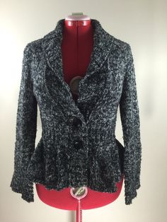 Dressbarn Thick Fitted Cardigan M Cotton Blend 2 Button Warm Melange Sweater #dressbarn #Cardigan
