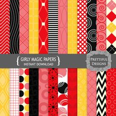 NEW Digital Scrapbooking Papers Red Black Pink by PrettifulDesigns, $2.59