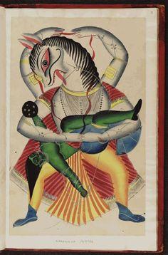 "'The Narasimha (man-lion) Avatar' (1875) from the ""Kalighat Indian Gods"" album. via Oxford digital library"