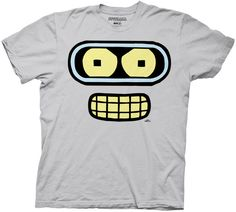 Futurama Bender Face Silver Gray Adult T-shirt  $17.95