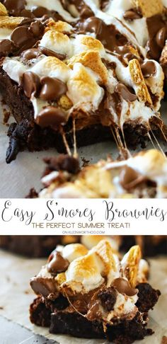 Easy S'mores Brownies are the perfect summer treat. Fudgy brownies topped with graham crackers, milk chocolate & marshmallows makes a yummy, toasty dessert.