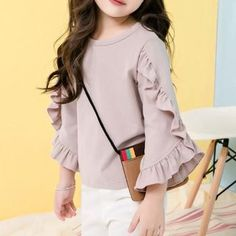 Fairy Pink Ruffled Long-sleeve Solid Top for Girls
