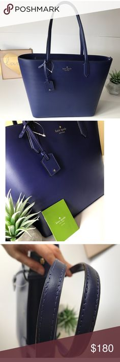 """NWT Kate Spade Lucia Bell Street Tote Handbag EXCELLENT CONDITION ✨ No damages, stains, rips, or tears. Firm Price 100% Authentic    PRODUCT DETAILS ✨ Color: Asilah Blue Material: Smooth Leather Dimensions: 11"""" H x 11.25 W (bottom) 15 7/8""""W (top) x 4.75""""D Strap Length: 8.6""""   OTHER INFORMATION ✨ Care Card Included - original tags attached 14K Gold Plated Hardware Zip Closure Double Slide Pockets Interior Zip Pocket *Dust bag not included*  Last photo for sizing purposes only.   Sincerely…"""