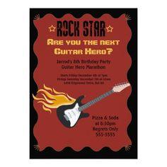 GUITAR ROCK STAR HERO Birthday Party Invitation