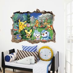 [Visit to Buy] Cartoon Pikachu Pokemon Go Wall Stickers For Kids Rooms Wall Decals Poster Room Decoration Poster Nursery Kids Room Decals Kids Room Murals, Kids Room Wall Decals, Bedroom Murals, Wall Decal Sticker, Art Wall Kids, Kids Rooms, Mural Wall, Wall Art, Gaming
