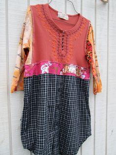Upcycled clothing / Funky Dress / Tunic / Eco Dress / Tattered Artsy Dress