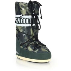 Camouflage-Print Moon Boots (390 MYR) ❤ liked on Polyvore featuring shoes, boots, apparel & accessories, military, retro boots, moon boots, shearling-lined boots, lace up boots and nylon boots