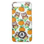 Owl & Pumpkin Vines Autumn Monogram Case #halloween #happyhalloween #halloweenparty #halloweenmakeup #halloweencostume