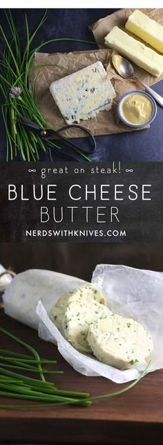 Grilled steak ramped up with a tangy, creamy blue cheese and chive compound butter - watch out, steak night, the bar just got raised. Flavored Butter, Butter Recipe, Blue Cheese Butter, Steak With Blue Cheese, Compound Butter, Good Food, Yummy Food, How To Grill Steak, Grilled Meat