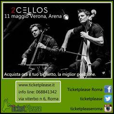 """Ticket """" 2 CELLOS """" info line: 068841342 www.ticketplease.it mail: info@ticketplease.it La nostra sede: via Viterbo n.6, Roma. Spediamo in tutta Italia con Bartolini. La data: 11 maggio Verona, Arena  I 2Cellos, duo di violoncellisti sloveno-croato,  sono l'autentica rivelazione del panorama musicale mondiale degli ultimi anni.  #tour #teatro #spettacolo #musica @2CELLOS #2cellos #AreneVerona #Verona #Arena"""