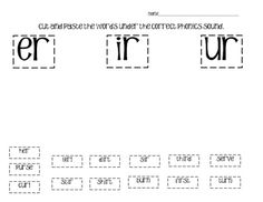 Students cut and paste words that contain -er, -ir and -ur to practice r-controlled vowels....
