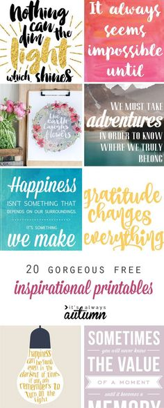 20 gorgeous & modern FREE inspirational quote printables: perfect for DIY wall art, gallery walls, or handmade gifts! More