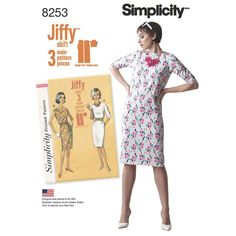 Misses' 1960s vintage Jiffy shift dress uses three main pattern pieces, and is great for any season with optional 3/4 sleeves. These easy dresses have great retro features including French darts and bateau neckline. Pattern also includes tie belt.