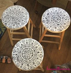 Lovely lacy doily stenciled barstools by Lauren @ #homeonthecorner