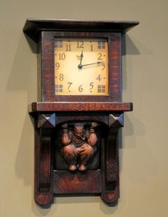 The Dutch Chocolate Wall Clock features a ceramic corbel cast from an original Batchelder tile that was made for the Dutch Chocolate Shoppe in Los Angeles in 1908. The tile corbel is made for me by Pasadena Craftsman Tile. To read more about the origin of this unique clock you can read my blog entry at The Dutch Chocolate Wall Clock. The clock is 20″ tall, 14″ wide and 6″ deep and sells for $575.