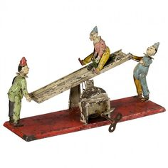 Clown See-Saw Musical Clockwork Toy by Günthermann, c. : Lot 642