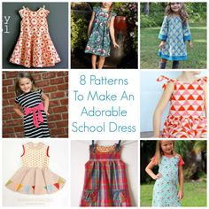 8 Patterns To Make An Adorable School Dress – Sewing School Dresses, Day Dresses, Girls Dresses, Sewing Patterns Free, Dress Patterns, Sewing Ideas, Sewing Projects, Pattern Sewing, Craft Projects