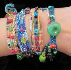 Rockabilly bracelets - wear one or many - all repurposed fibers, beads and buttons