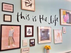 this is the life, indeed: debs' salon wall keeps the entire team inspired during brainstorms in her office. (kate spade new york home)
