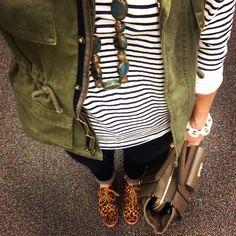 @kjkempf :|: striped shirt : military vest : leopard oxfords