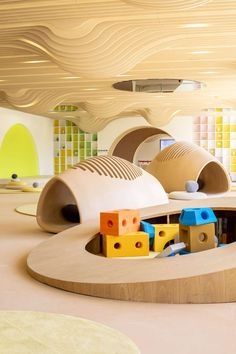 Childrens Discovery Center of COB Wangjing Mansion by L&A De.- Childrens Discovery Center of COB Wangjing Mansion by L&A Design mooool - Kindergarten Interior, Kindergarten Design, Playground Design, Indoor Playground, Children Playground, Playground Ideas, Kids Cafe, Kids Library, Playroom Design